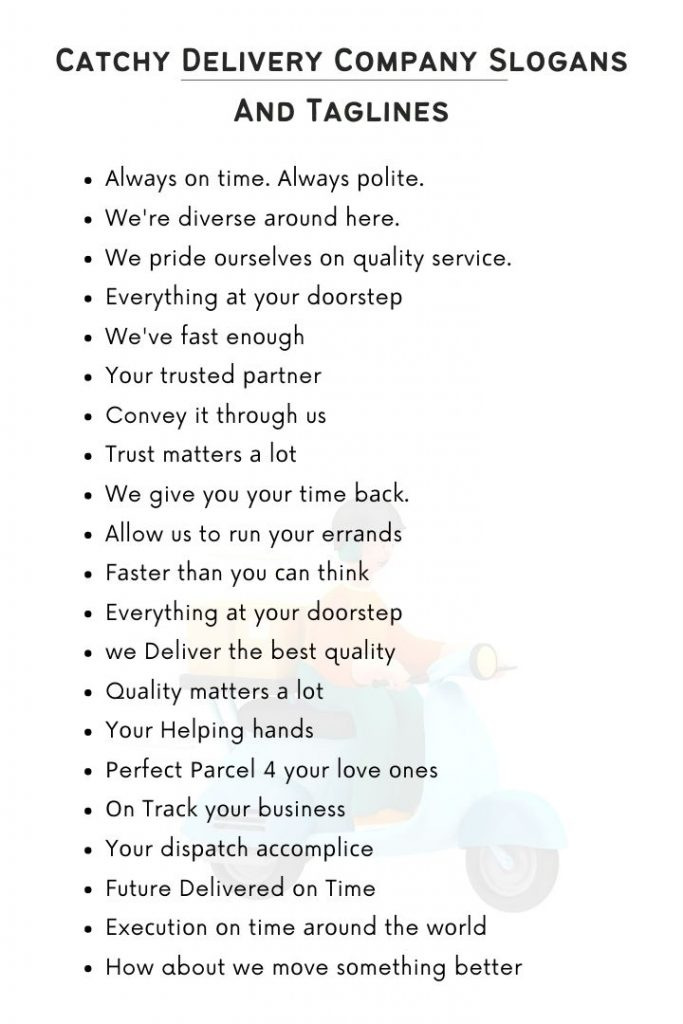 Best Delivery Company Slogans